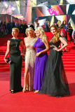 Celebrities at Moscow Film Festival. Celebrities at XXXV Moscow International Film Festival red carpet opening ceremony. First at left - tvv-presenter Daria Royalty Free Stock Images