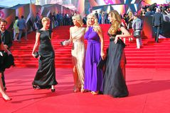 Celebrities at Moscow Film Festival. Celebrities at XXXV Moscow International Film Festival red carpet opening ceremony. First at left - tvv-presenter Daria Stock Image