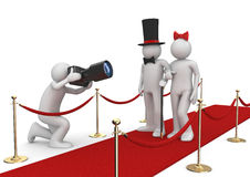 Celebrities on red carpet. Concept of some red carpet entertainment event opening with starry persons and paparazzo Royalty Free Stock Image