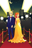 Celebrities on the red carpet. A vector illustration of a couple celebrities on the red carpet Stock Image