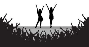 Celebrities on scene, cheerful people audience, silhouette. Vector Royalty Free Stock Images