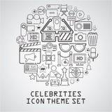 Celebrities universal movie  icons line. Big set Royalty Free Stock Images