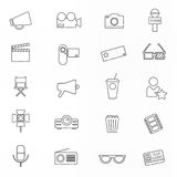 Celebrities universal movie  icons line. Big set Stock Photography