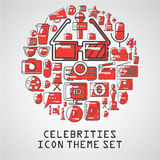 Celebrities universal movie  icons line. Big set Royalty Free Stock Photo