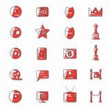 Celebrities universal movie  icons line colour. Big set Royalty Free Stock Photo