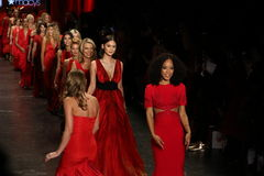 Celebrities walk the runway finale  at The American Heart Association's Go Red For Women Red Dress Collection 2016. NEW YORK, NY - FEBRUARY 11: Celebrities walk Royalty Free Stock Photos