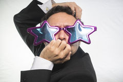 Celebrity, businessman with glasses stars, crazy and funny achie Royalty Free Stock Photography