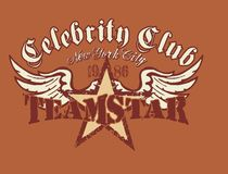 Celebrity club. Eagle-winged star graphic design team, T-shirt Royalty Free Stock Photo