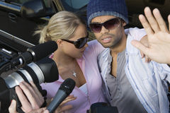 Celebrity Couple And Paparazzi Stock Photography