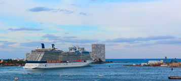 Celebrity Eclipse large cruise ship is leaving port for 7 days Caribbean voyage. Royalty Free Stock Photos
