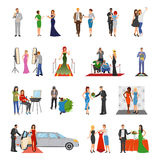 Celebrity Flat Colored Decorative Icons. With paparazzi photo session stylists banquet  interview elements isolated vector illustration Royalty Free Stock Photography