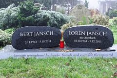 Celebrity grave stones, london. Bert and Loren Jansch grave stones on a misty day in an old Victorian cemetery in North London, uk stock photography