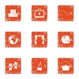 Celebrity icons set, grunge style. Celebrity icons set. Grunge set of 9 celebrity vector icons for web isolated on white background Stock Image