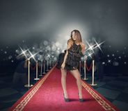 Celebrity on red carpet. With photojournalist royalty free stock images