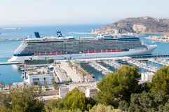 Celebrity Reflection docked in Cartagena, Spain. Celebrity Reflection cruise ships docked in Cartagena, Spain Stock Photos