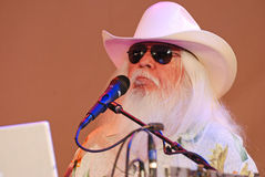 Celebrity Rock & Roll Icon Leon Russell at the Mic Stock Photo