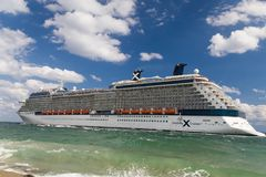 Celebrity Silhouette Cruise Ship Headed to Sea. FORT LAUDERDALE, FL/USA - APRIL 9, 2017: Celebrity Silhouette cruise ship. Celebrity Cruises is a premium cruise stock photos