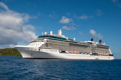 Celebrity Solstice. Cruise ship docked in the port of BoraBora, French Polinesia stock image