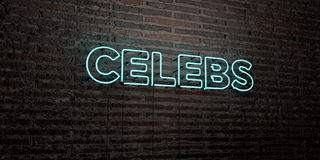 CELEBS -Realistic Neon Sign on Brick Wall background - 3D rendered royalty free stock image Stock Images