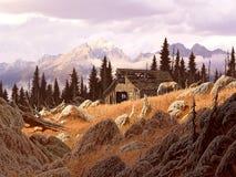 Celeiro da montanha ilustração stock
