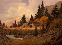 Celeiro da montanha ilustração do vetor