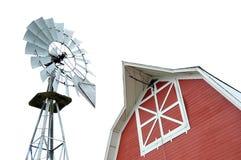Celeiro e moinho de vento fotos de stock