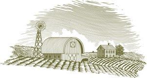 Celeiro e moinho de vento do bloco xilográfico Imagem de Stock Royalty Free