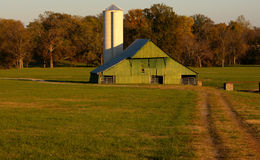 Celeiro e silo verdes Fotos de Stock