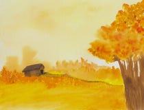 Celeiro na pintura do campo ilustração royalty free