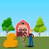 Celeiro velho e campo verde ilustração stock