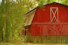 Celeiro vermelho nas madeiras fotos de stock