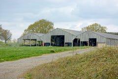 Celeiros de madeira em uma exploração agrícola imagem de stock