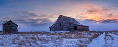 Celeiros na deterioração na paisagem da pradaria do inverno Imagem de Stock Royalty Free