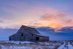 Celeiros na deterioração na paisagem da pradaria do inverno Foto de Stock Royalty Free