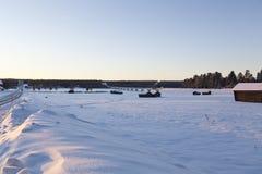 Celeiros no inverno Imagens de Stock