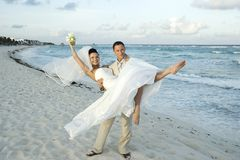celem karaibów plażowy ślub Obraz Stock
