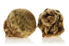 Celeriac. Fresh celeriac isolated over white background Stock Photos