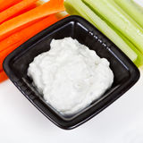 Celery, carrot with Blue cheese dressing Royalty Free Stock Photo