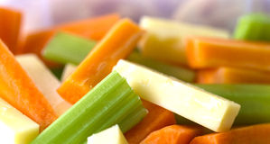 Celery, Carrot and Cheese Sticks. Stock Photos