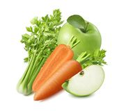 Celery, carrot and green apple isolated on white background stock image