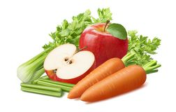 Celery, carrot and red apple isolated on white background stock photography