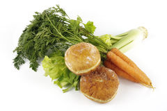 Celery with Carrots and Doughnuts Royalty Free Stock Images