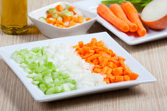 Celery, carrots, onion and vegetables Royalty Free Stock Photography