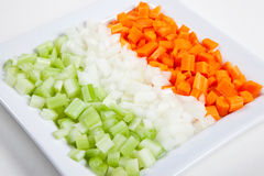 Celery, carrots, onion and vegetables Stock Photos