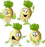 Celery cartoon with face and hand gesture - vector Royalty Free Stock Image