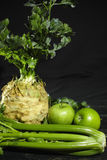Celery, celery root - celeriac and green apples, fresh healthy  Stock Images