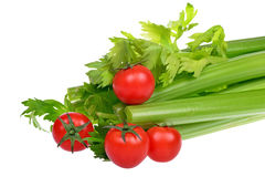 Celery and cherry tomatoes isolated Stock Image