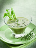 Celery cream soup with thymus. On glass Stock Image