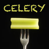 Celery on fork Royalty Free Stock Photo
