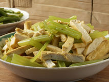 Celery fried dried tofu Royalty Free Stock Photos